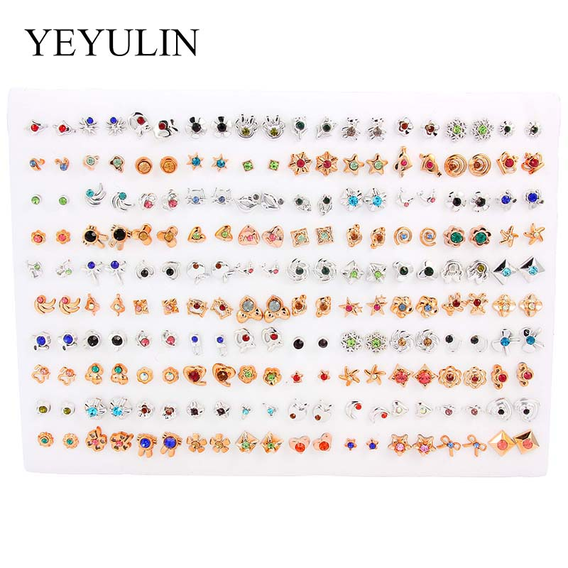 100Pair lot Multi style Colorful Fruit Flower Geometric Crystal Stud Earrings Set For Women Girls plastic Earrings Jewelry Gifts in Stud Earrings from Jewelry Accessories