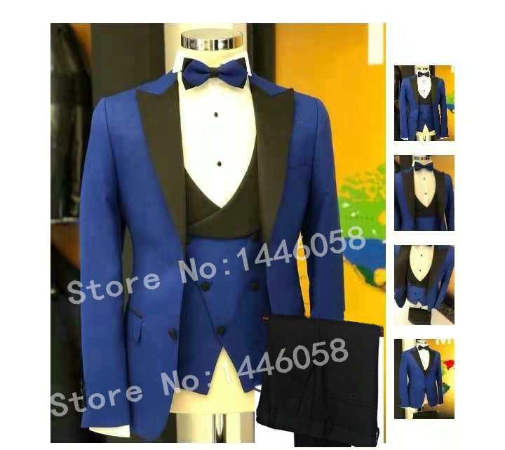 Latest Coat Pant Designs 2019 Italian Men's Dinner Party Suits Terno Slim 3 Piece Royal Blue Groom Tuxedo Men Wedding Suits