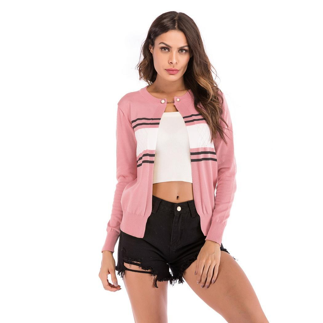Women Casual O-Neck Long Sleeve Striped Patchwork Cardigan Slim Button Single Coat Autumn Winter 2018 Casual