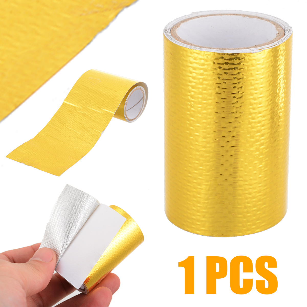 Treyues 1Roll 5*80cm Fiberglass Adhesive Reflective Gold High Temperature Heat Shield Wrap Waterproof Tape
