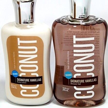Bath u0026 Body Works COCONUT VANILLA Shower Gel and Body Lotion Gift Set & Bath u0026 Body Works COCONUT VANILLA Shower Gel and Body Lotion Gift ...