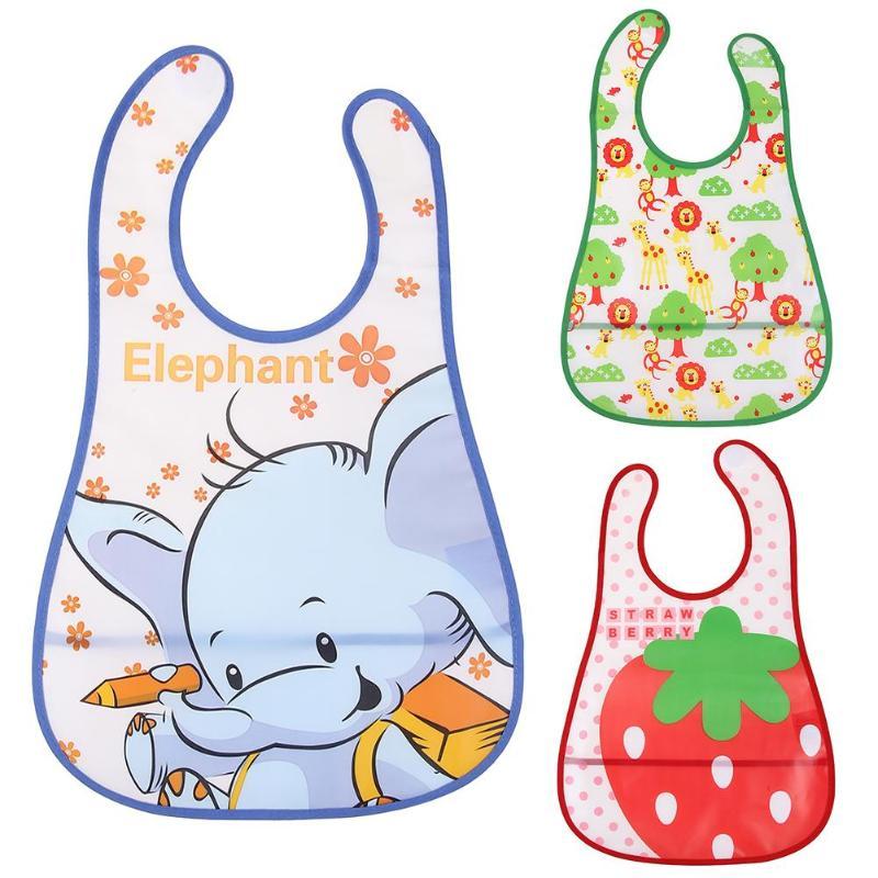 Baby Kids Newborn Infant Cute Cartoon Bib EVA Waterproof Feeding Care Strawberry