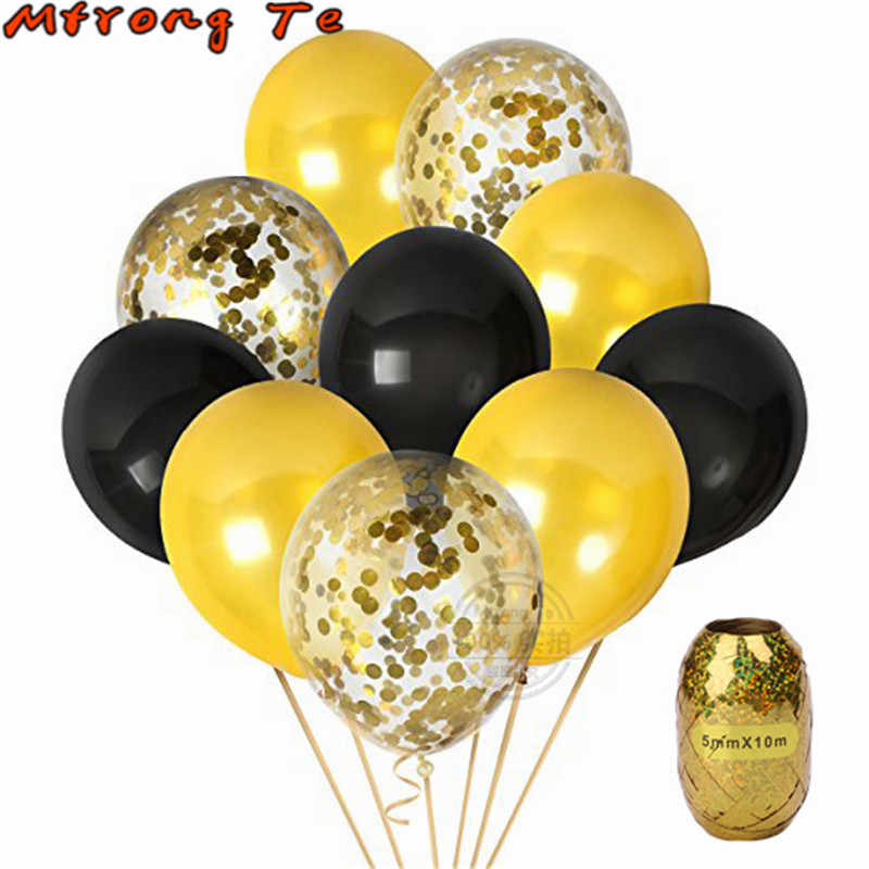 11pcs 12inch Clear black gold Confetti latex helium Balloons for birthday Party Anniversaries Weddings Decorations baby shower