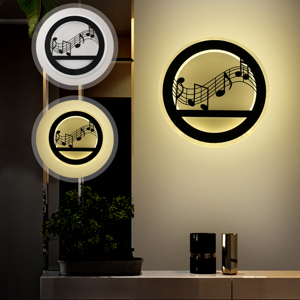 Music Pattern Acrylic Creative Led Wall Light Living Room Night Light Bedroom Lamps LED Sconce Bathroom Wall Lamp LED Lustres