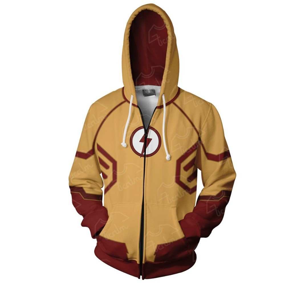 2019 New Hoodies Coat Hoodies Costume Legion Clothing Kid Flash Zip Up Hoodie 3d Printed Zipper Hoodies