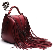 Handmade High Quality Cowhide Leather Handbags With Suede Tassels Genuine Women Shoulder Bag