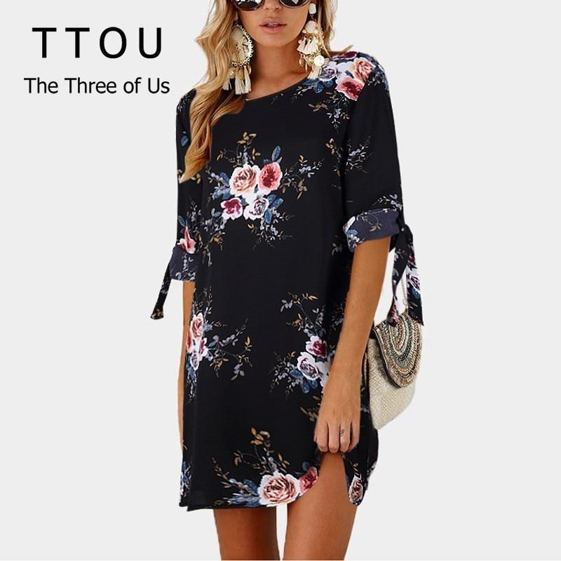 daafdcc33843 TTOU 2019 Для женщин летнее платье Бохо Цветочный принт Одна деталь  шифоновое пляжное платье сарафан-