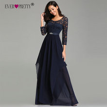 Ever Pretty Prom Dresses Long EZ07716 Elegant Beading Sash Sleeve Navy Blue Winter Lace Dress Party Formal Gown