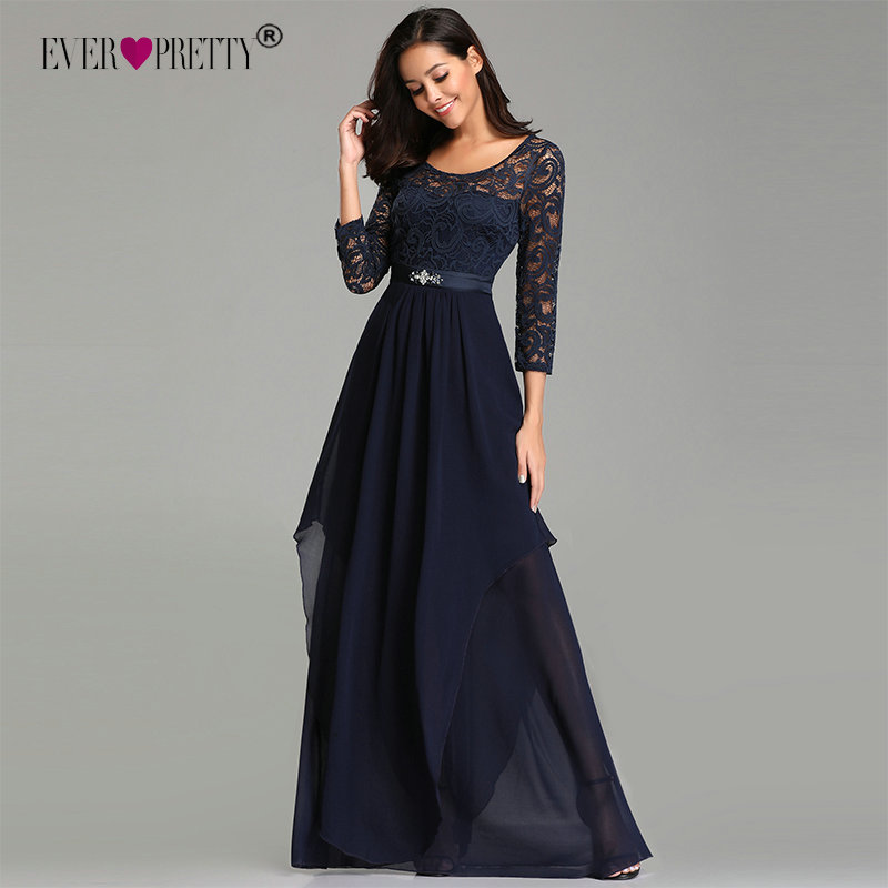 Ever Pretty   Prom     Dresses   Long Ever Pretty EZ07716 Elegant Beading Sash Long Sleeve Navy Blue Winter Lace   Dress   Party Formal Gown