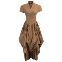 Women solid Vintage dress for party clubwear Retro Steampunk Gothic Victorian Short Sleeve V Neck metal rings A line long Dress