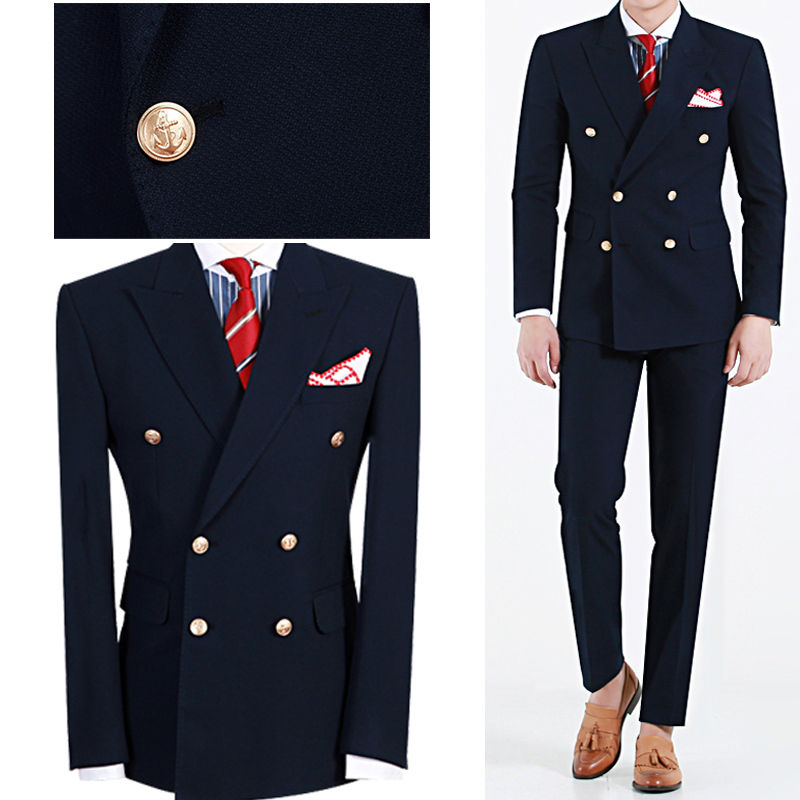 Custom Made Mens Suits Navy Blue Blazer Double Breasted Groom Tuxedos Slim Fit Men Wedding Prom Party Suit (Jacket+Pants)