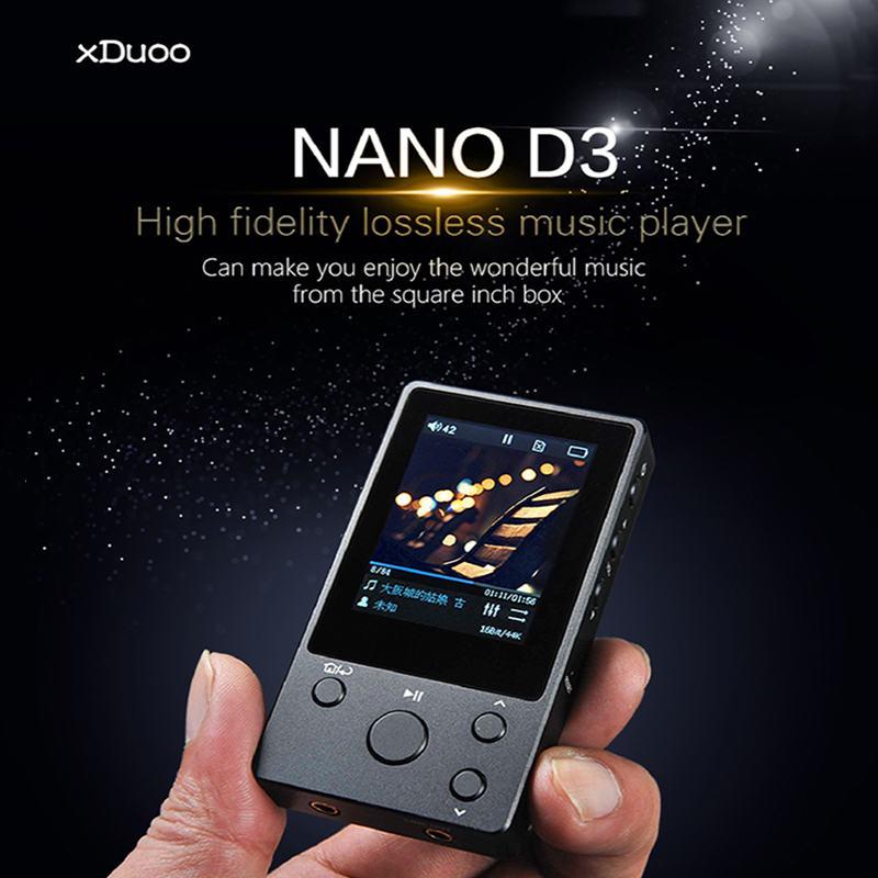 XDuoo NANO-D3 8G haute fidélité sans perte HIFI lecteur MP3 musique DSD256 décoder 2.0 pouces IPS écran CNC lecteur HiFi 256G Extension