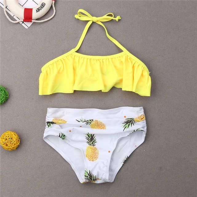0890ace81 Family Matching Swimwear Mother Father Kids Swimsuit Fruits Pineapple  Bathing Suit Women Girls Bikini Men Boys Trunks Beachwear-in Children's  Two-Piece ...