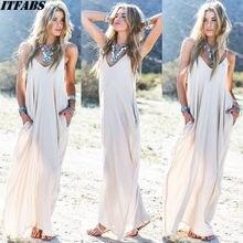 Women Ladies Solid Plain Long Maxi Dress Sleeveless Evening Party Summer Holiday Loose Beach Sundress