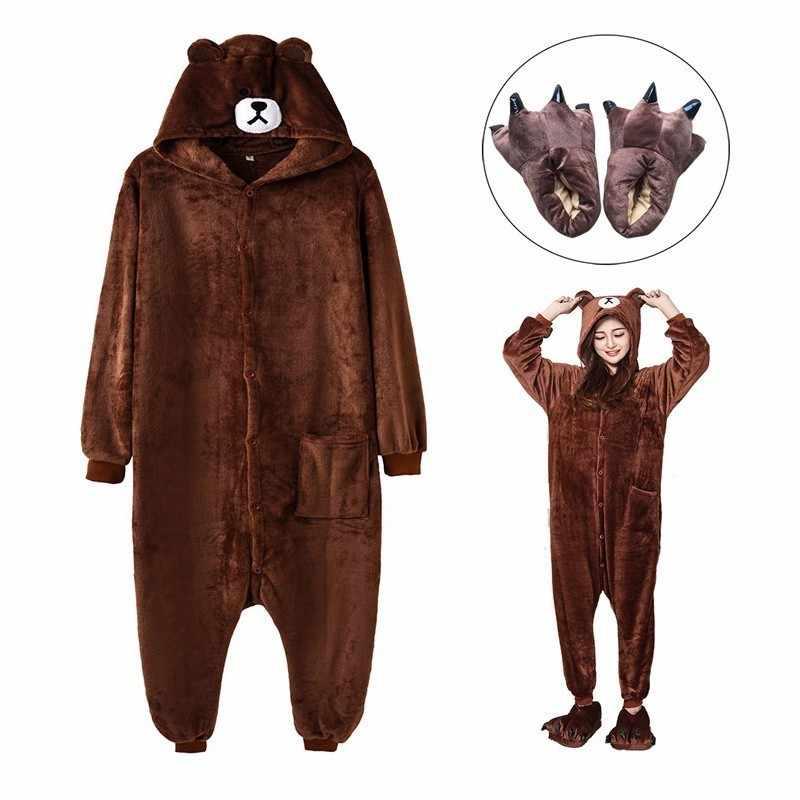 Взрослых бурый медведь Kigurumi Для женщин Для мужчин карнавальный костюм  героев мультфильмов зимние теплые Onesie пижамы b0305819bc4de