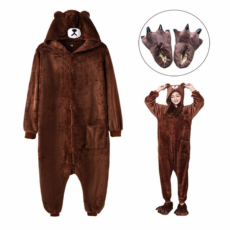 Adult Brown Bear Kigurumi Women Men Cartoon Cosplay Costume Winter Warm Onesie Pajama With Slippers Couple Funny Party Suit