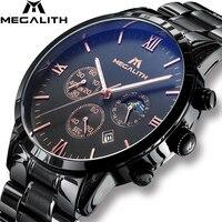MEGALITH модные повседневное часы с хронографом Дата календари водостойкий черный нержавеющая сталь Спорт Военная Униформа наручные ч