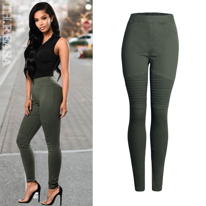 Army Green Military Jeans Biker Motor Jeans For Women High Waist Jeans Skinny Stretchy Elastic Waist Denim Pencil Pants Trousers