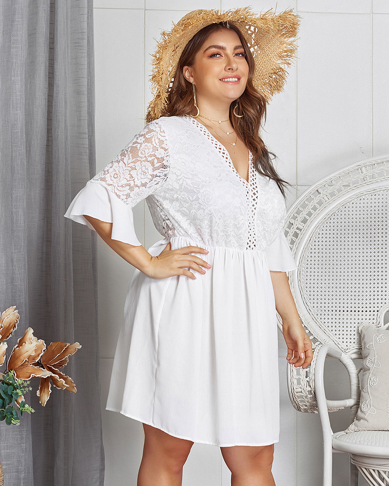 Plus Size Casual Loose Women 39 s Dress White Butterfly Sleeve Lace Back Dresses V Neck Elegant Evening Party Sexy Club Dresses in Dresses from Women 39 s Clothing