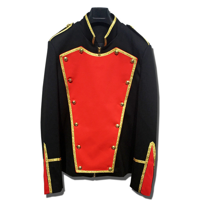 British Style Palace Prince Gold Thread Surround Retro Stage Suit Men Party Blazer Slim Fit Jacket Singer Coat Performer Coat