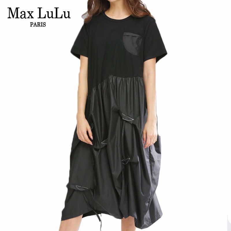 Max LuLu Summer Korean Ladies Cotton Long Clothes Women Fashion Patchwork Dresses Harjuku Vestidos Casual Streetwear