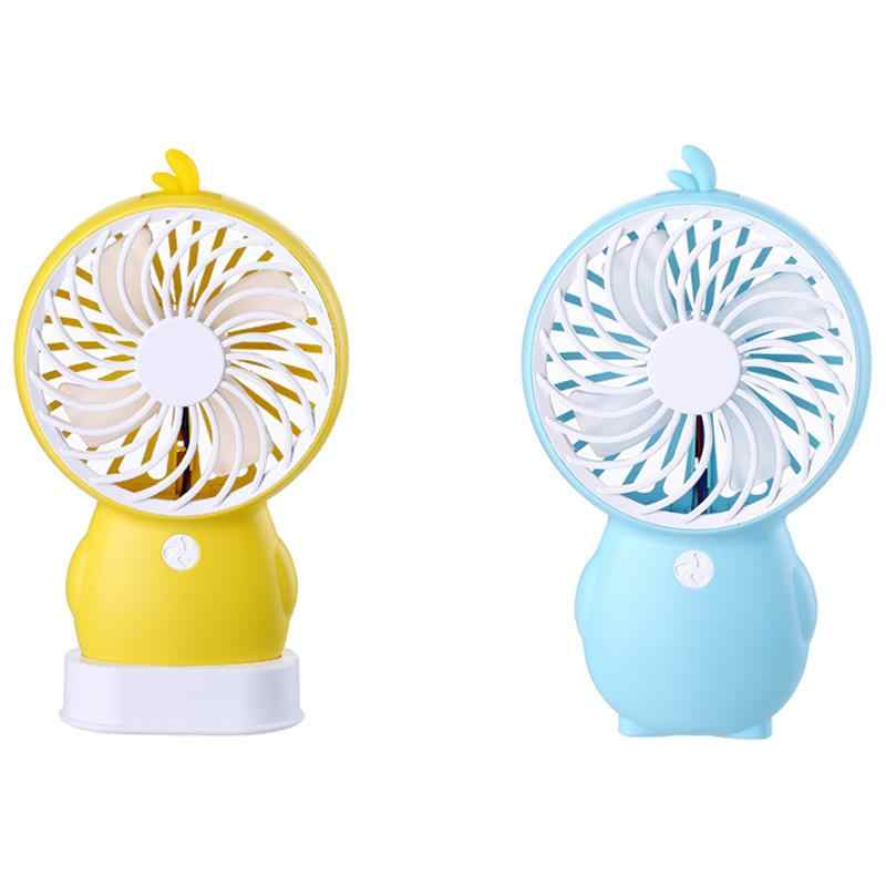 hot sale Cartoon Duckling Penguin Mini Handheld Portable Fan Usb Mute Second Gear Vigorous Four-Leaf Fan 5V