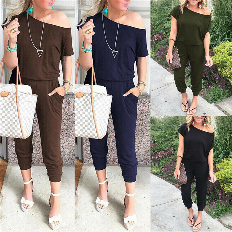 New fashion casual women's personality slant shoulder strap loose long   jumpsuit