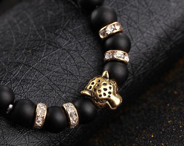Koraliki z kamienia naturalnego mężczyzn bransoletki talizman matowy czarny 8mm koralik kamień onyksowy matowy tygrys Leopard bransoletki dla mężczyzn biżuteria prezent