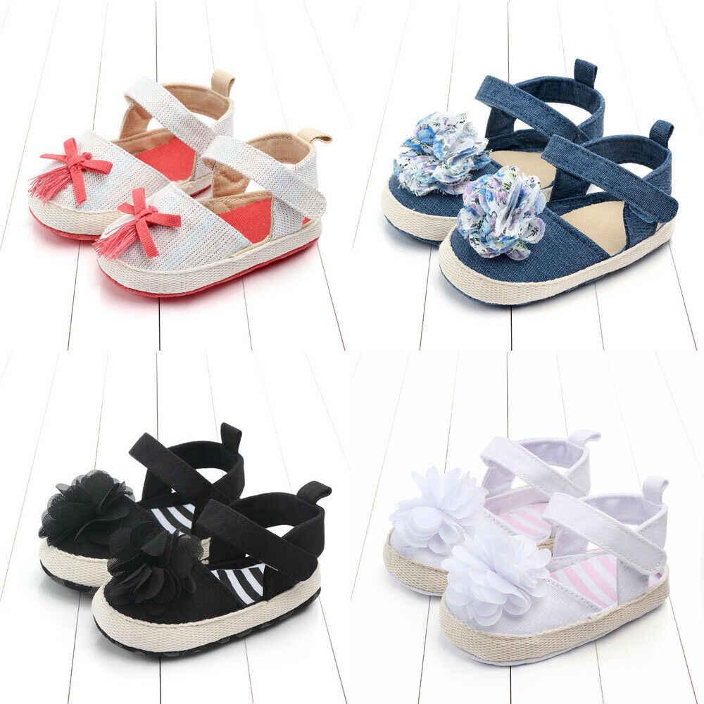 2019 Emmababy פעוט תינוק בנות אביב קיץ נעלי בד קשת פרח רך החלקה נסיכת נעליים יפה 0- 18 M