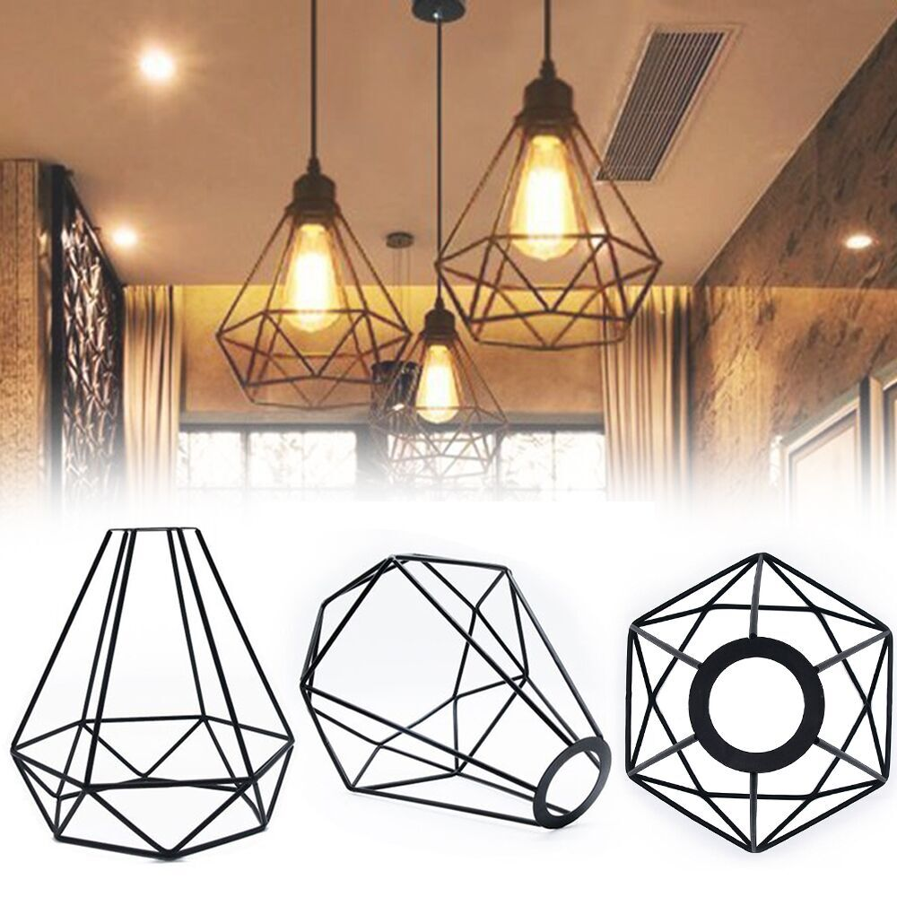 Geometry Iron Lampshade Vantage Retro Edison Wire Birdcage Lampshade Ceiling Lighting Fixtures Home Decorative OrnamentsGeometry Iron Lampshade Vantage Retro Edison Wire Birdcage Lampshade Ceiling Lighting Fixtures Home Decorative Ornaments