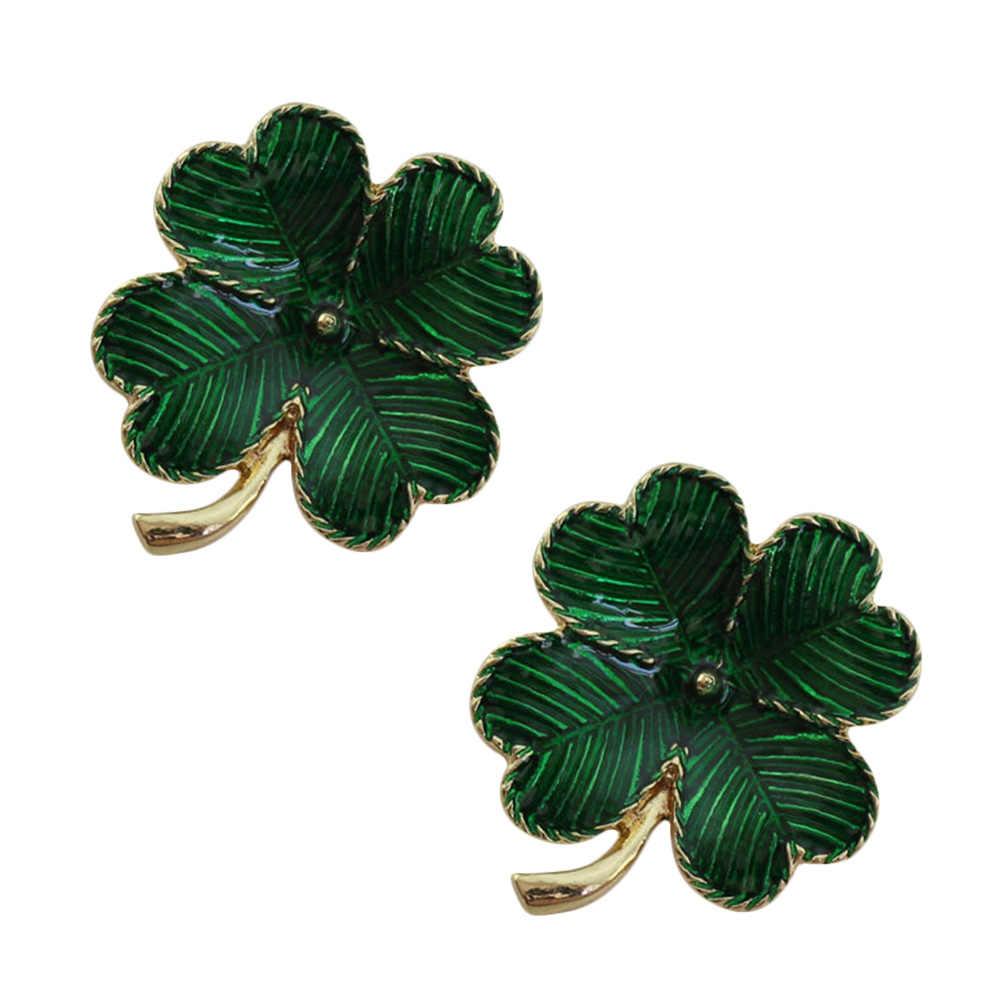 51dc3db6e9d ... 2pcs Shamrock Gold Plated Four Leaf Brooch Clover Retro Lapel Pin St. Patricks  Day Accessory ...