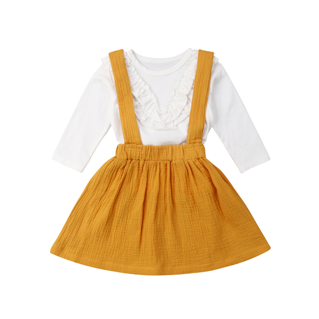 e07a2855bfe 1-6T Kid Baby Girl Ruffle Lace Tops Shirt Skirt Strap Suspender Overall  Cute Princess