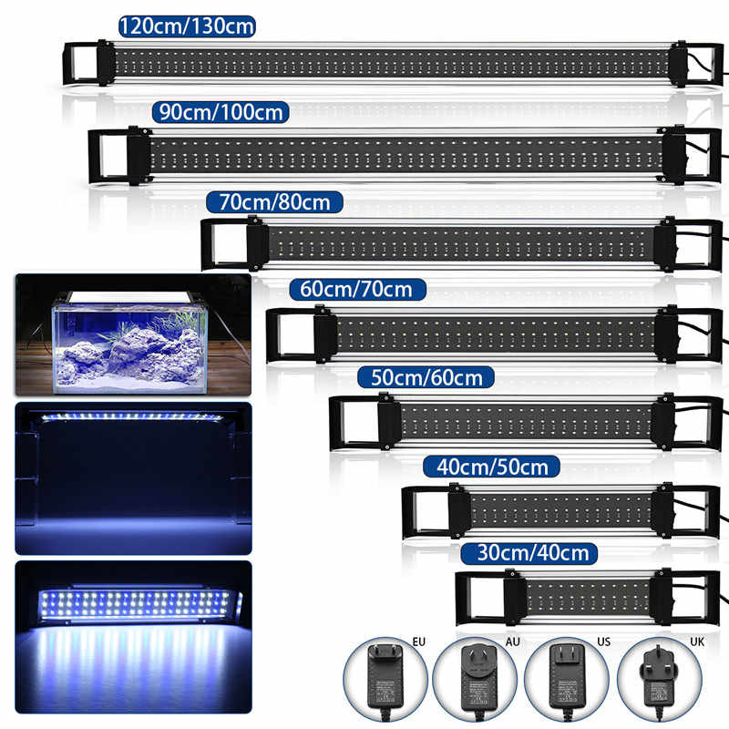 30-120cm Adjustable Dimmable Aquarium Fish Tank Light Blue/White Bar Submersible Waterproof Lamp Decor Underwater Light 100-240V