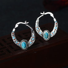 Boho Oval Blue Stone Women Hoop Earrings Eagle Feather Pattern Ethnic Earring Vintage Indian Jewelry Antique Silver Color DBE049(China)