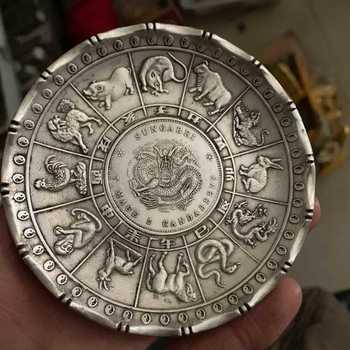 Chinese Fengshui Prata 12 Pratos Placas Decorativas Animal Estátua Do Dragão Do Zodíaco Moeda Placa de Decoração Para Casa Artesanato Presente 9*1.5 cm