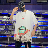 Europe And The United States Brand Men's Loose Five point Sleeve T shirt Country Hip hop Letter Pattern Print Personality Summer