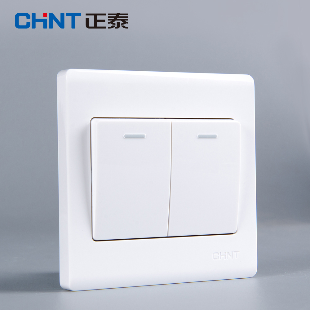 CHNT 86 Type Wall Switch White Panel Socket NEW7D Elegant White Two Gang Single Control Light Switches 2 Gang 1 Way in Switches from Lights Lighting
