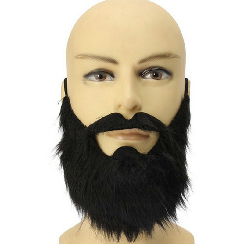 Costume Moustache Prom-Props Party-Decoration Fake Beard Funny Pirate Halloween Black title=