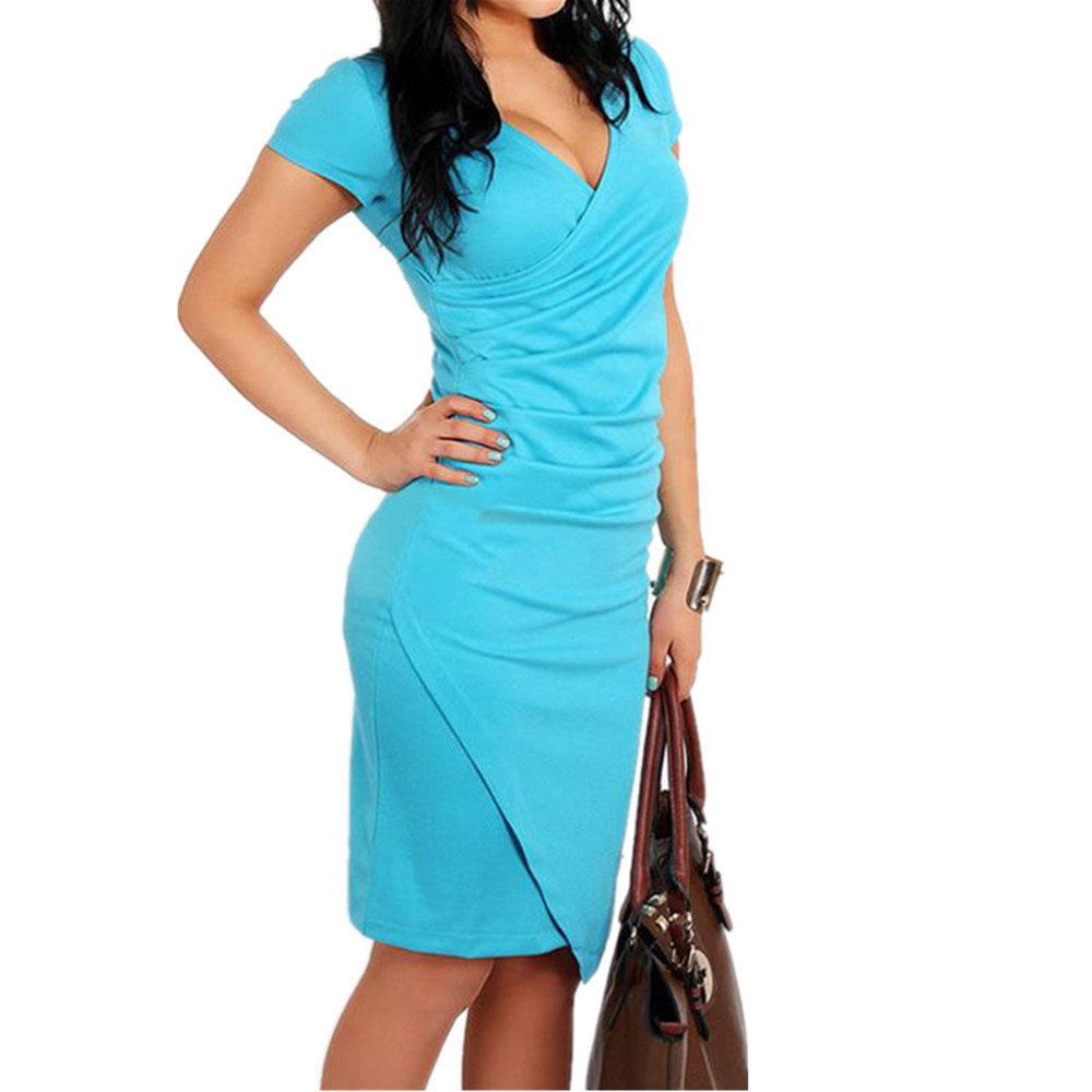 <font><b>Bodycon</b></font> Pencil Women Dress V Neck <font><b>Sexy</b></font> European Style Summer Female <font><b>Vestidos</b></font> <font><b>De</b></font> <font><b>Renda</b></font> Ropa Mujer Office Evening Party Club Dress image