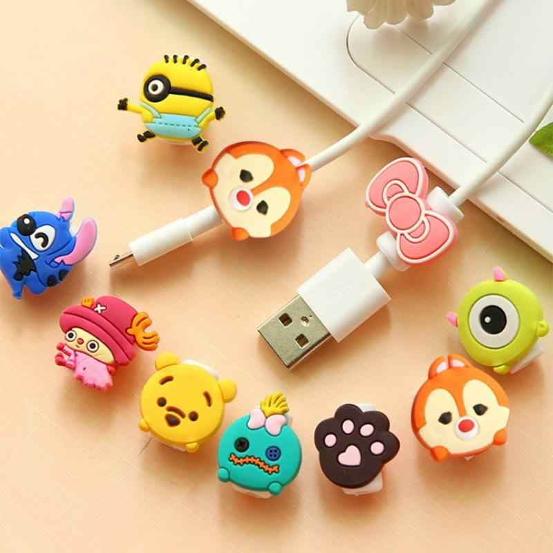 1pc Cute Cartoon Cable Protector Data Line Earphone Protective Cover Charging Cable Winder Protection Cover