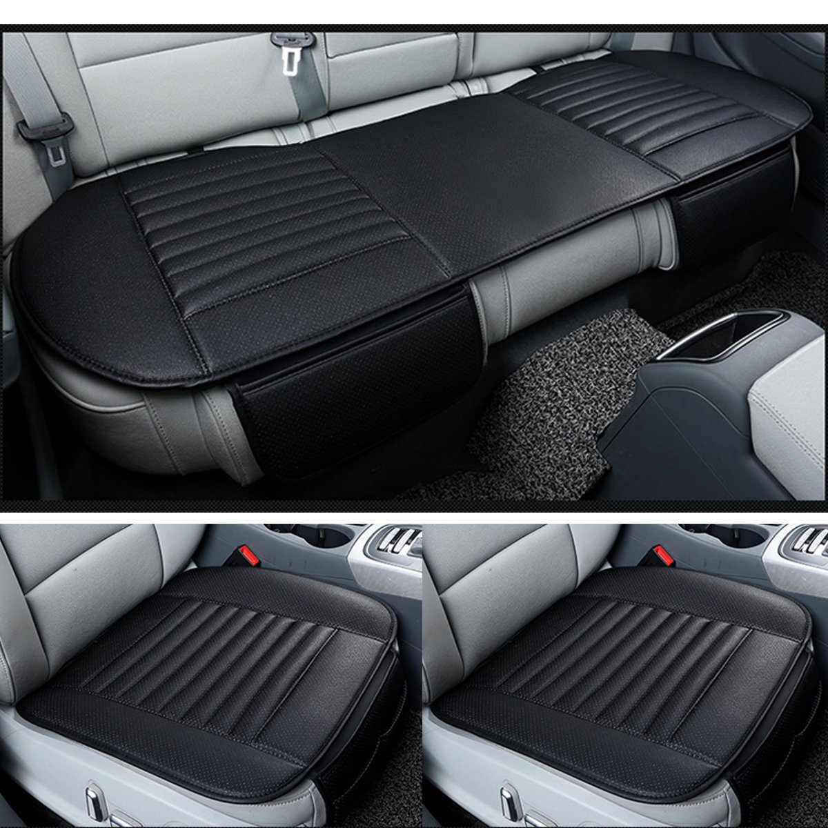 1 Set For 5 Seat Car Seat Cover Winter Warm Front Back Rear Seat Cushion Pu Leather Breathable Universal Car Seat Protector Mat