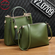 2Pcs/Sets Women Handbags PU Leather Shoulder Bags Female Large Capacity Casual Tote Bag Crossbody