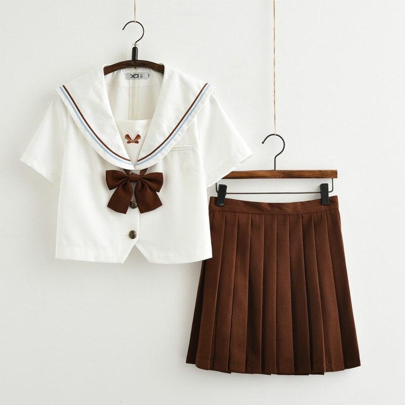 2019 New Set Plus SizeJK Japanese School Sailor Uniform Fashion School Class White Suit Girl Student School Uniforms For Cosplay