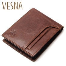 Vesna TAUREN RFID BLOCKING New Stylish Men Wallet  Genuine Cow Leather Male Bifold Purse With Card Pocket Protection