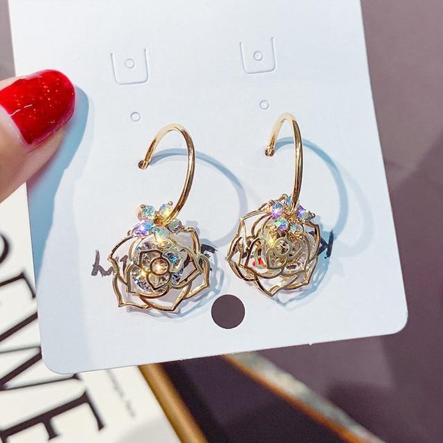 FYUAN Zircon Flower Dangle Earrings for Women 2019 Bijoux Exquisite Gold Color Rose Crystal Drop Earrings.jpg 640x640 - FYUAN Zircon Flower Dangle Earrings for Women 2019 Bijoux Exquisite Gold Color Rose Crystal Drop Earrings Jewelry
