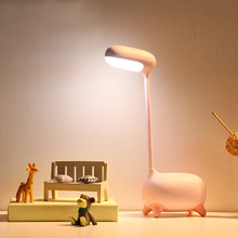 Touch Switch Table Lamp LED Rechargeable Dimmable 3 Modes Reading Light Cartoon Cute Deer Type USB Led Desk Lamp for Bedroom(China)