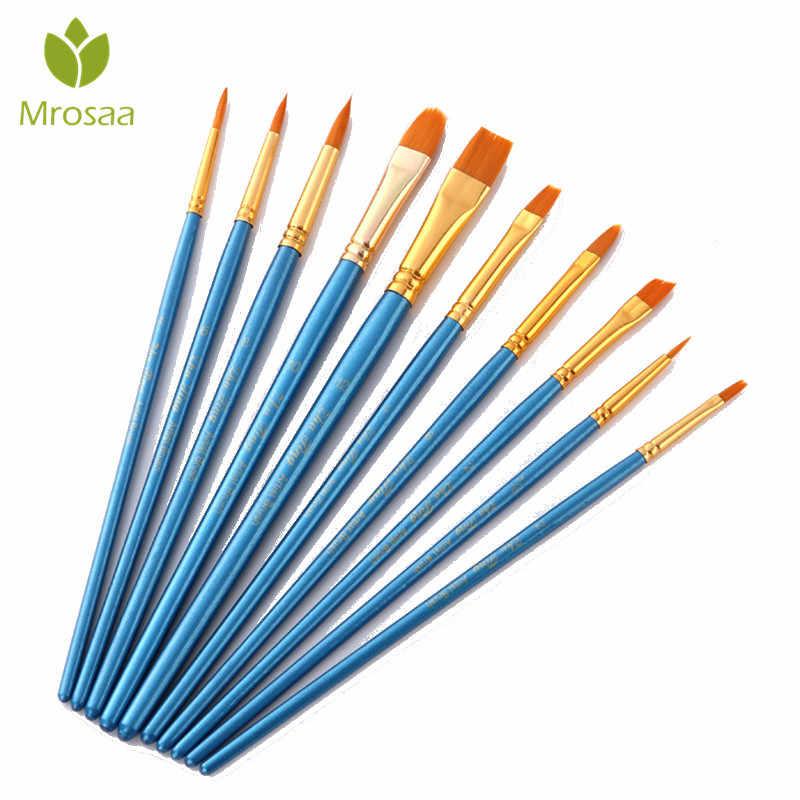 10 יחידות צבע גואש בצבעי מים מברשות שונה צורה עגול קצה מחודד ניילון שיער ציור מברשת סט ציור אספקת אמנות