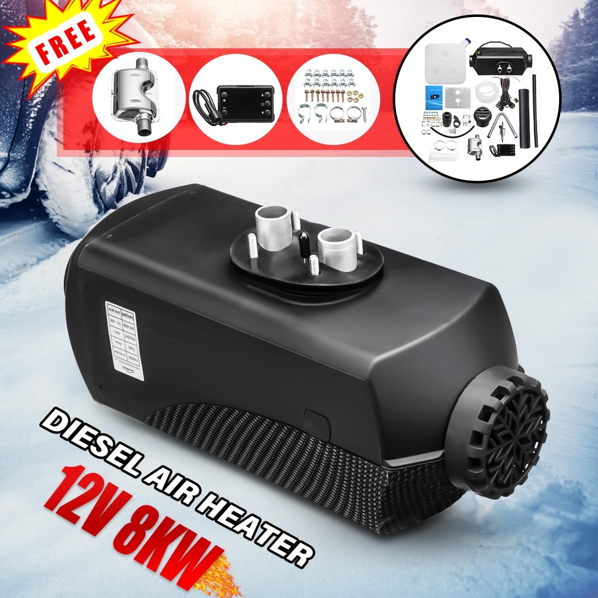 12 v 8000 w 8kw lcd monitor de ar diesel aquecedor combustível aquecedor de carro planar w/silenciador para rv caminhão carro motor casa barco ônibus motorhome