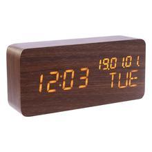 USB Wood LEDIntelligent InductionSound Control Alarm Clock Thermometer Timer CalendarTemperature Display Clock