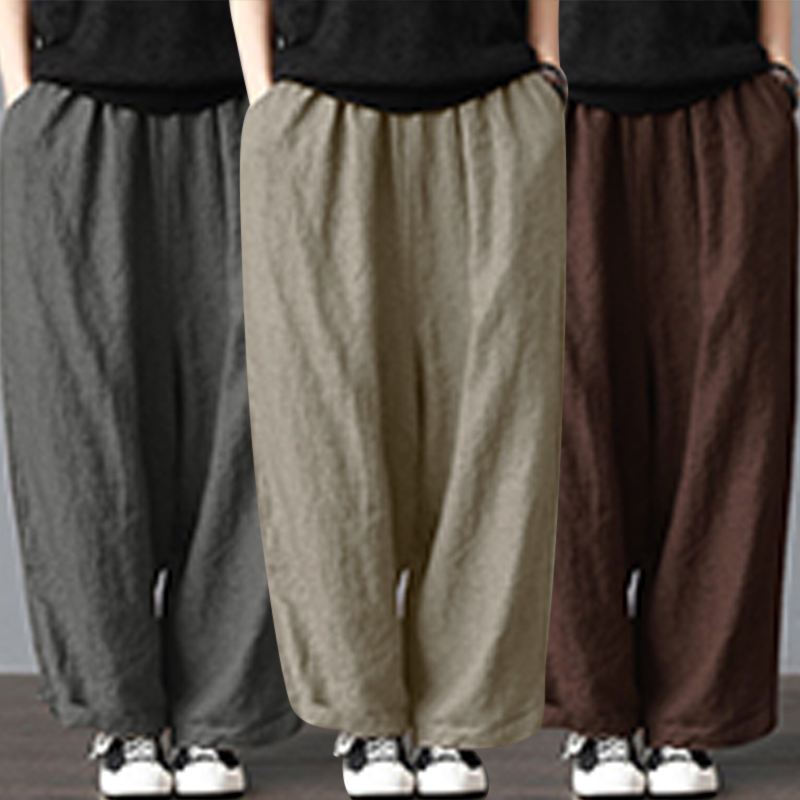 5XL Baggy Pantalon Women Loose Long Pants Cotton Linen Wide Leg Pant With Pockets Ladies Casual Summer Autumn Baggy Trousers